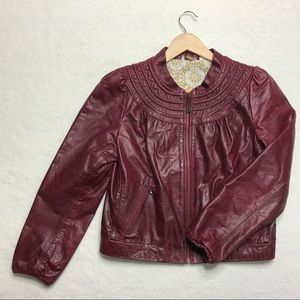 NEW DOMA Red Leather Motorcycle Jacket L Women's